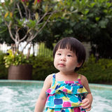 Little Asian toddler at the pool Stock Photo