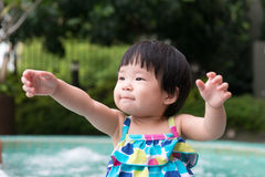 Little Asian toddler at the pool Royalty Free Stock Photography