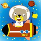 Little bear cartoon the funny astronaut royalty free illustration