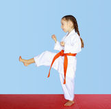 Little athlete beat a direct kick foot Royalty Free Stock Photo