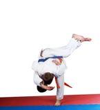 Little athletes perform judo throw Stock Photos