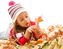 Little autumn girl, in studio Royalty Free Stock Photos