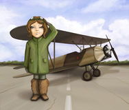 Little aviator girl standing near airplane. Smiling and giving salute, digital painting Stock Image