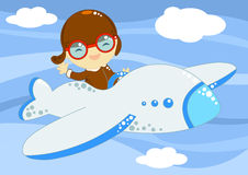 Little aviator up in the sky. Illustration about a cute little happy aviator flying up in the sky among the clouds with his airplane stock illustration