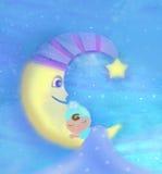 Little babe sleeping on moon Royalty Free Stock Image