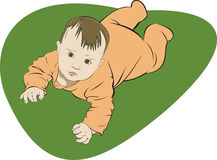 Little baby. Art illustration of creeping small baby looking up stock illustration