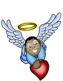 Little baby angel. A cartoon illustration of a little baby angel holding a heart with a halo over his head Royalty Free Stock Photos