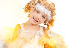 Little baby angel with curls Stock Images