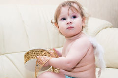 Little baby angel with wings Stock Image