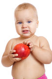 Little baby with apple Royalty Free Stock Photos