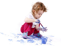 Little baby artist with watercolors Stock Photography