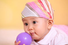 Little baby with ball Royalty Free Stock Photography
