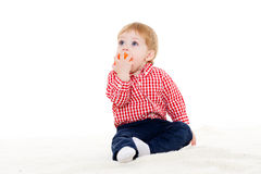 Little baby with ball. Stock Images