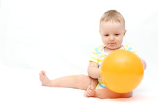Little baby with balloon Stock Photo