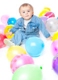 Little baby in balloons Royalty Free Stock Image