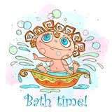 The little baby is bathed. Time to bathe inscription. Vector stock illustration
