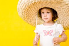 Little baby with big hat Stock Photography