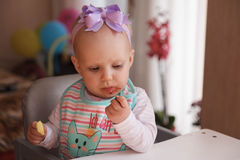 Little baby and blackberry Royalty Free Stock Images