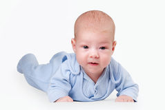 Little baby in blue Stock Image