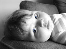 Little baby with blue eyes Royalty Free Stock Image