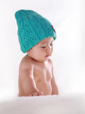 Little baby with blue hat Royalty Free Stock Images