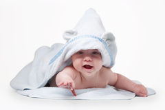 Little baby in blue towel Royalty Free Stock Photography