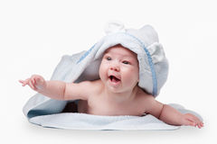 Little baby in blue towel Stock Image