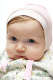 Little baby at the bonnet Stock Photos