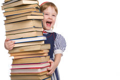 Little baby with books isolated Stock Photo