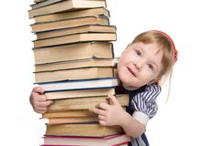 Little baby with books isolated Stock Photos