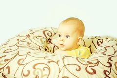 Little baby boy in blankets royalty free stock image