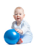 Little baby boy with blue ball Stock Photos