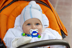 Little baby boy with blue eyes Royalty Free Stock Images