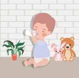 Little baby boy with bottle milk and stuffed toys. Vector illustration design stock illustration