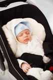 Little baby boy in car seat. Little baby boy sleeping in car seat Royalty Free Stock Photos
