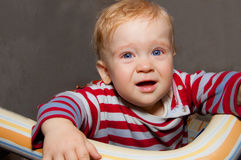 Little baby boy cries Stock Photography