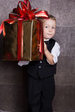 Little baby boy with Cristmas gift Royalty Free Stock Image