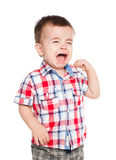 Little baby boy crying stock photo