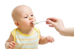 Little baby boy feeding with a spoon Stock Photos