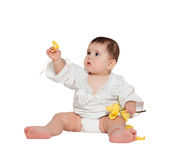 Little baby boy with flower isolated on white Royalty Free Stock Photo