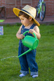 Little baby boy gardener Stock Image