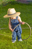 Little baby boy gardener Stock Photography
