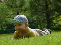 Little baby-boy on the grass Stock Image