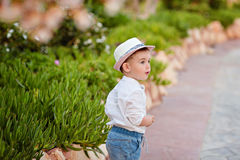 Little baby boy in a hat and shorts in the summer on a backgroun. D of park looks into the distance Stock Images
