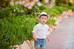 Little baby boy in a hat and shorts in the summer on a backgroun. D of park looks into the distance Stock Photo