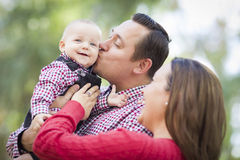 Little Baby Boy Having Fun With Mother and Father Outdoors Royalty Free Stock Photo