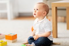 Little baby boy at home royalty free stock photos
