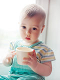 Little baby boy at home Stock Image