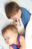Little baby, boy and kitten sleeping together Stock Photos