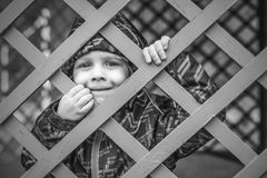 Little baby boy  looking through blue fence Royalty Free Stock Photos